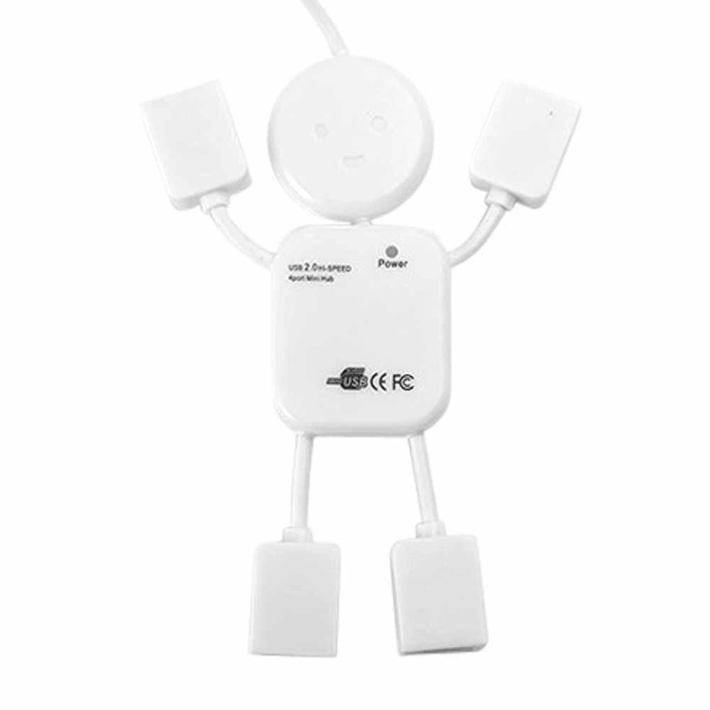 Livraison gratuite nouveau 4 ports Hub haute vitesse USB 2.0 humanoïde séparateur câble adaptateur pour ordinateur portable PC pour Windows 98 2000 ME XP