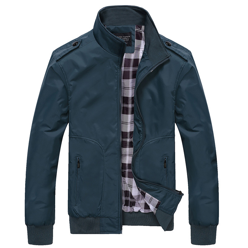 Mens Sportswear Slim Jacket Casual Coats Solid Color Stand Collar 6