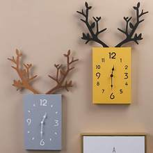 5 STYLE Wooden Antler Decorative Wall Clock Nordic Style Fashion Silent Home Living Room 3d DIY Bedroom Decoration