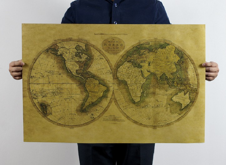 The old version of kraft paper poster map of the world Vintage paper Wall movie Poster 51*36 CM wall sticker 0812 ...