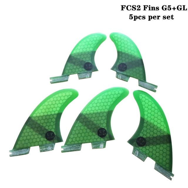 FCSII G5 + GL Surfboard mavi/siyah/kırmızı/yeşil renk petek yüzgeçleri üç quad fin set FCS 2 Fin sıcak satış FCS II Fin Quilhas