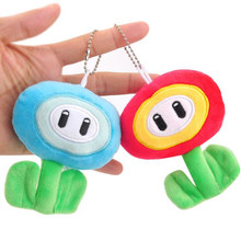 1 Pc Lovely Super Mario Bros Plush Keychain Ice & Fire Flower Small Pendant Keyring Stuffed Plush Toys Doll(China)