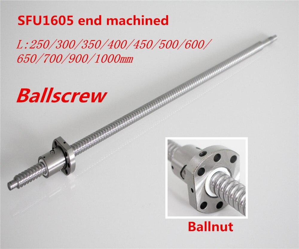 Husillo de bolas SFU1605 250mm 300, 350, 400, 450, 500, 600, 650, 700, 900, 1000, 1200, 1500mm w Ballnut bola tornillo $1605 extremo mecanizado CNC