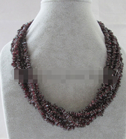 bjc 0002985 Beautiful 18 6row natural garnet chip necklace cat eye flower clasp