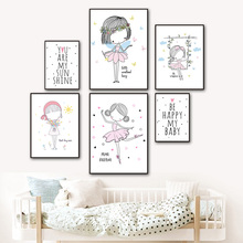 Watercolor Poster Nursery Prints Fairy Canvas Painting For Baby Room Kids Canvas Art Decor Wall Pictures Wall Art Print Unframed цена