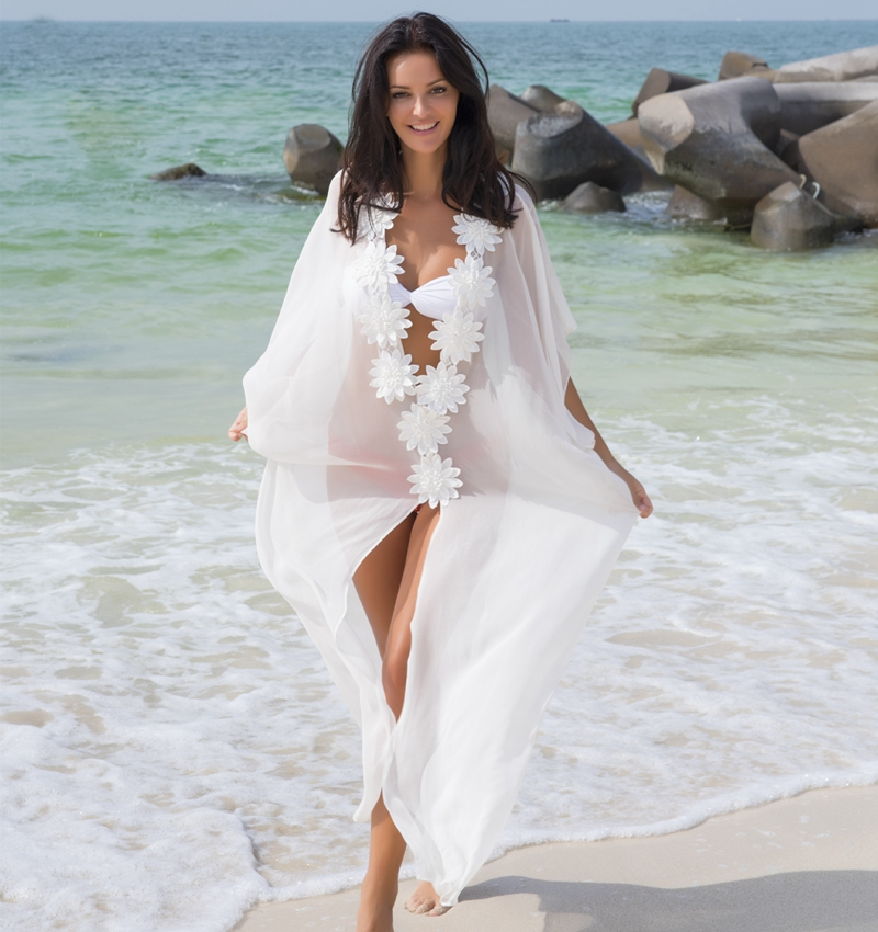 60055800182 Aliexpress.com   Buy New 2018 Chiffon Pareo Beach Cover Up Floral Applique  Beach Dress Swimwear Women Robe De Plage beach wear Bathing Suit Swimsuit  from ...