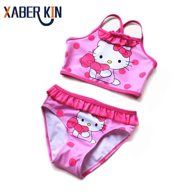 584f596937c2 3 ~ 12Y niñas traje de baño 2019 nuevo estilo de verano de Hola Kitty  Bikini traje de los niños, Tankini, traje de baño de Beachwear-SW104