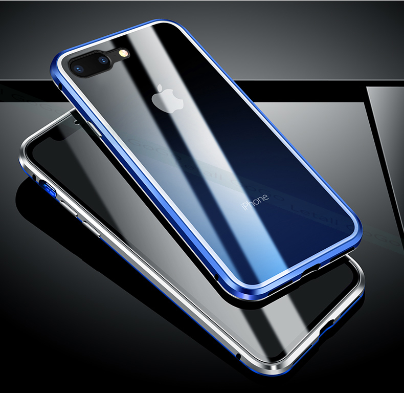 Magnetic clear  tempered glass Metal phone cover case (13)
