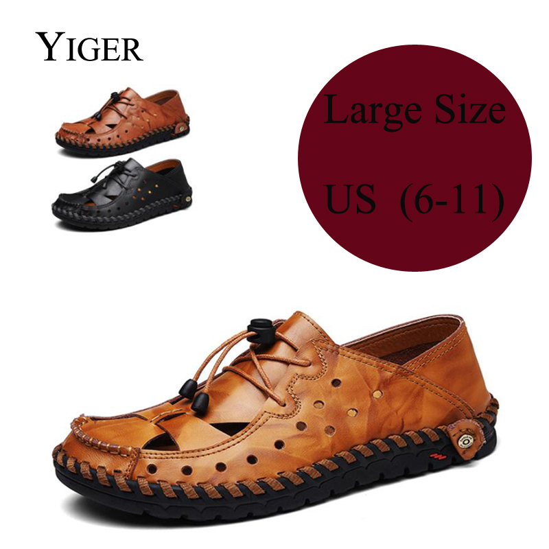YIGER New Men Sandals Genuine Leather Man Shoes Large Size Hole shoes Man Leisure Summer soft Men Beach Sandals 0082