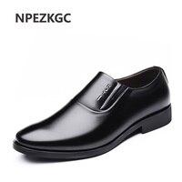 NPEZKGC Italian Men Dress Shoes Slip on Man Shoes PU Leather Spring Autumn wedding Men oxfords shoes zapatos hombre