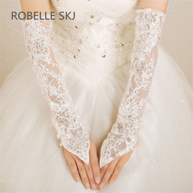 gloves for wedding elbow length sheer lace bridal gloves wedding for bride ivory with and sequins liga