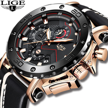 2019 LIGE New Top Men Watches Original Case Large Dial Watch Casual Leather Business Sport WristWatch Male Erkek Kol Saati