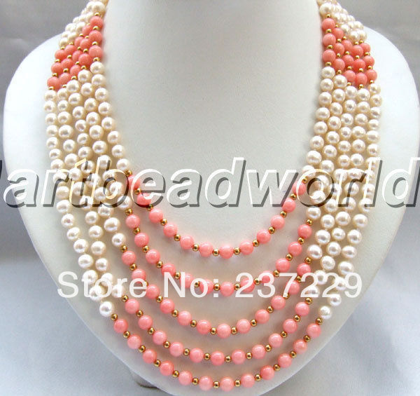 Prix de gros LIVRAISON GRATUITE ^ ^ ^ ^ 5 strand blanc couleur perle d'eau douce et rose collier de corail