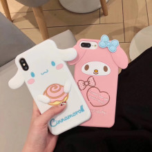 Luxe 3D Japanse leuke cartoon Melody Cinnamoroll siliconen telefoon case voor iphone 6 6s 7 8 plus X XR XS MAX meisje coque(China)