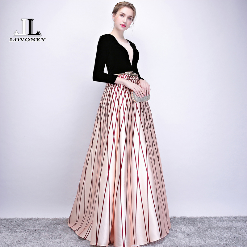 LOVONEY New Arrival Elegant Long Evening Dress Women Occasion Party Dress Evening Gown Formal Dresses Robe