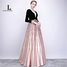 LOVONEY New Arrival Elegant Long Evening Dress Women Occasio