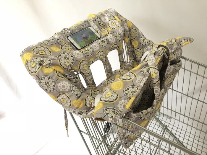 Двойная корзина для покупок для близнецов или детей. Гарантированно подходит для оптовых складских продуктовых магазинов. Такие как Costco - Цвет: Yellow with cover