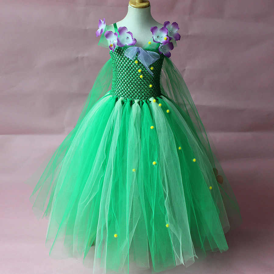 00742976a Green Flower Fairy Cosplay Halloween Costume Dress Teenage Toddler Girls  Princess Elsa Tutu Dress Kids Christmas