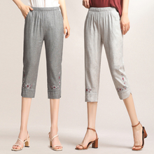 2019 Summer Middle Aged Women Casual Straight Pants Loose Trousers Elastic High Waist Floral Embroidery Pants Plus Size 4XL new middle aged women casual thin straight pants plus size 5xl loose trousers elastic high waist pants