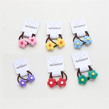 2pcs/lot candy color girl woman hair accessories flower elastic hair rubber band hair tie ring Carton hurt hair rope headwear(China)