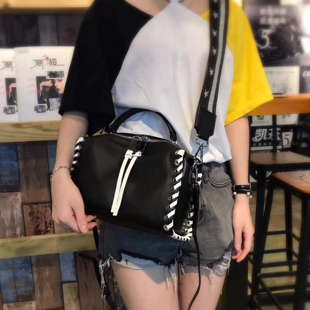 Kafunila 2018 new arrival women genuine leather wide shoulder strap messenger handbag famous brand designer Boston European bag