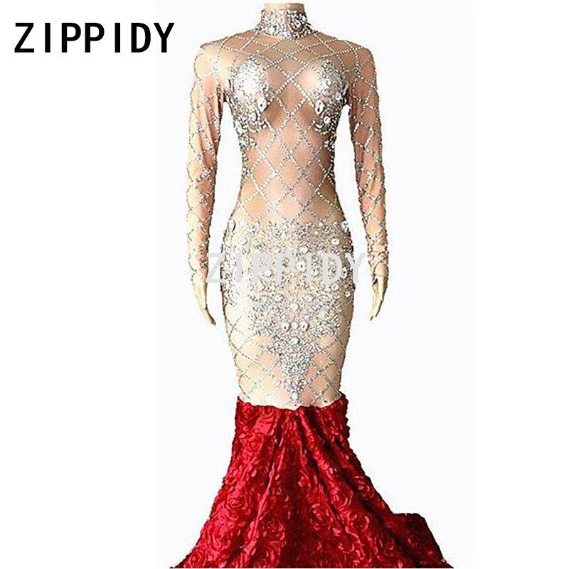 Bling Серебряный кристаллы стрейч платье Для женщин День Рождения Праздновать Певица Показать наряд пикантные красные розы хвост длинные пла