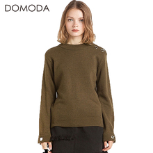 DOMODA Fashion Sweater Women Solid Green O-neck Long Sleeve Button Pullovers Street Style Brief Slim Knitted Sweater Female