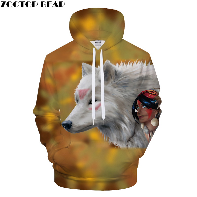Beauty 3D Hoodies Men Wolf Hoody Streetwear Tracksuit Casual Sweatshirt Print Coat Funny Pullover Hoodie New DropShip ZOOTOPBEAR