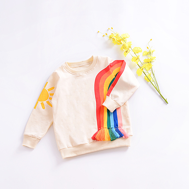 Baby Boys Sweatshirt Children Brand Design 2017 Autumn Girls Hoodies Cotton Long Sleeve O neck Rainbow