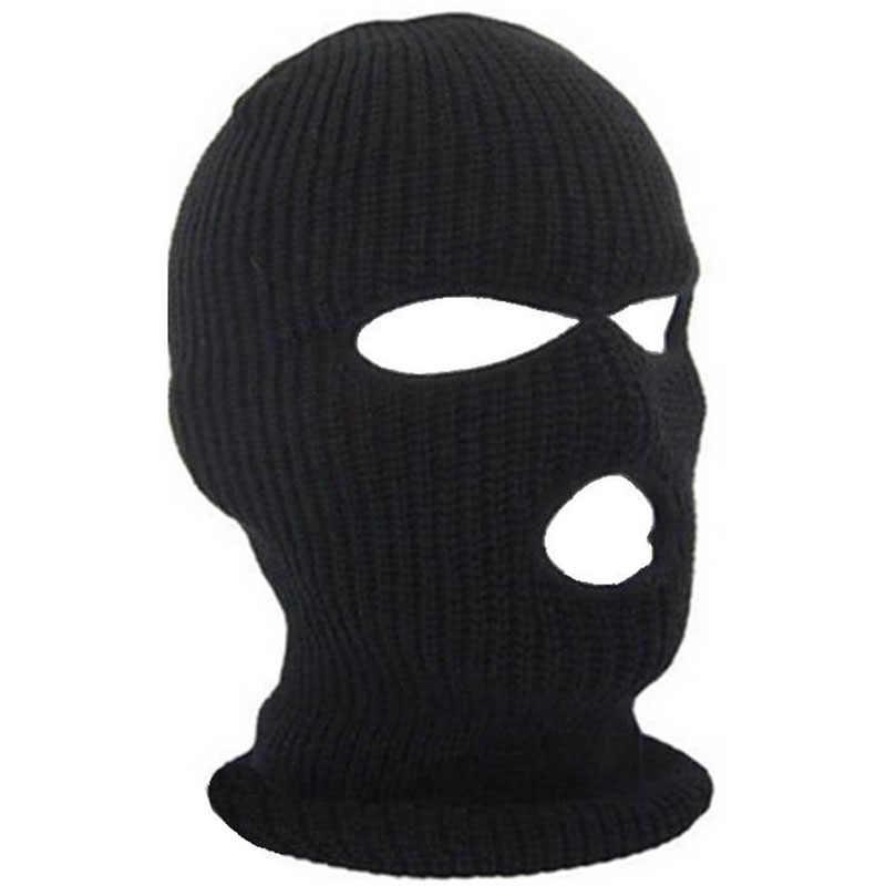b39f9c2416a 3 Hole Ski Mask Balaclava Black Knit Hat Face Shield Beanie Cap Snow Winter  Warm