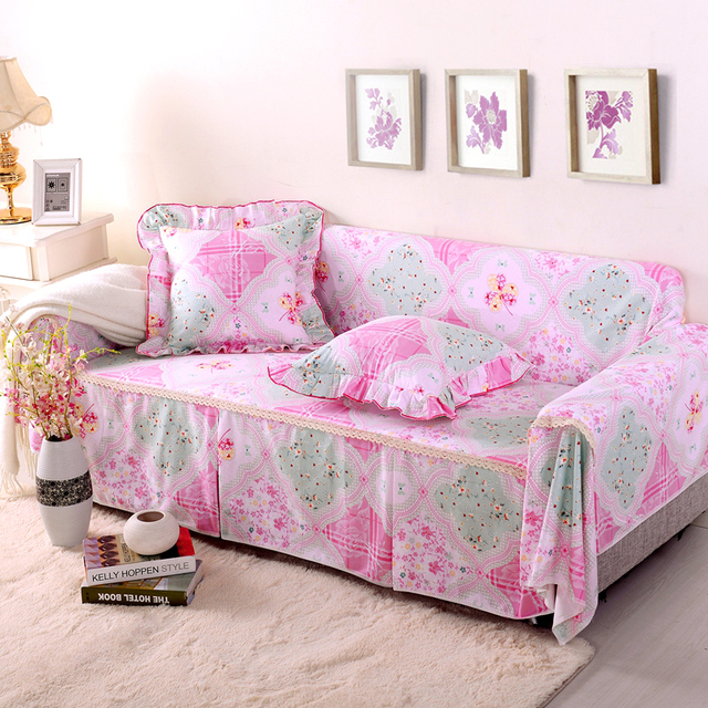 SunnyRain Thick Cotton Pastoral Pink Floral Sofa Cover Sofa Slipcover For  Sectional Sofa 3 Seat Sofa