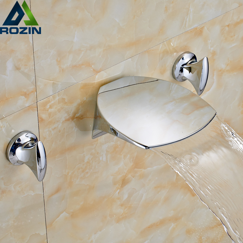 Creative Design Chrome Finish Bathroom Wall Mount Basin Sink Faucet wall Mounted Two Handles Mixer Water Taps chrome finish bathroom shower faucet adjustable water taps wall mounted