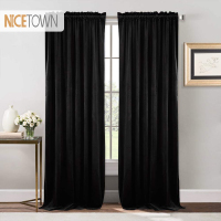 1PC Red Velvet Curtain Nursery Sunlight Block Drape for Bedroom Ruby Blackout Warm Soundproof Drapery for House Decoration