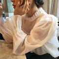Mujeres Llenos de Algodón Camisas Delgadas Dulce Floral Del Collar Del Soporte de Manga Larga Blusa Plisada Ocasional Oficina Wear Tops Con Volantes Blusas de Manga
