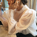 Women Full Cotton Slim Shirts Sweet Long Sleeve Floral Stand Collar Blouse Pleated Casual Office Wear Tops Ruffled Sleeve Blusas