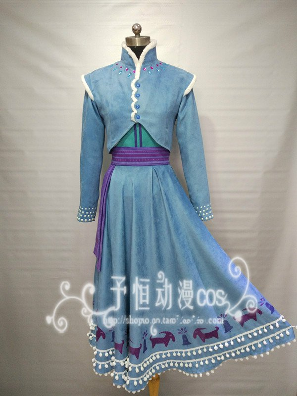 Movie Princess Anna Cosplay Costume Halloween Costume Olaf Adventure Anna Cosplay Dress Women Snowing Winter Costume