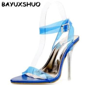 b88ed336d84 Sandalias de tacón alto BAYUXSHUO romanas de Color sólido con hebilla de  cristal con tacones de aguja de moda de verano para mujer