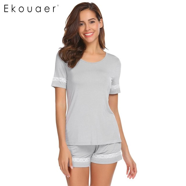 548468075a Ekouaer Summer Pajamas Women Casual Sleepwear O-Neck Short Sleeve Lace Trim  T-Shirt Top And Shorts Pajamas Set Female Nightwear