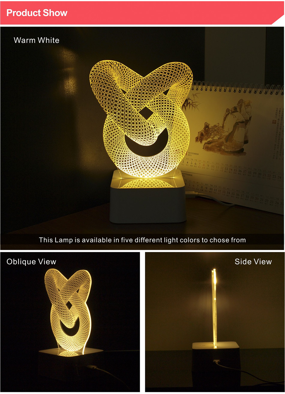 Bulls LED NBA Team 3D Optical Illusion Smart 7 Colors Night Light Table Lamp with USB Power Cable