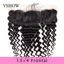 VSHOW Pre Plucked 13x4 Loose Deep Wave Lace Frontal Free Part Brazilian With Baby Hair 130% Density Remy Human