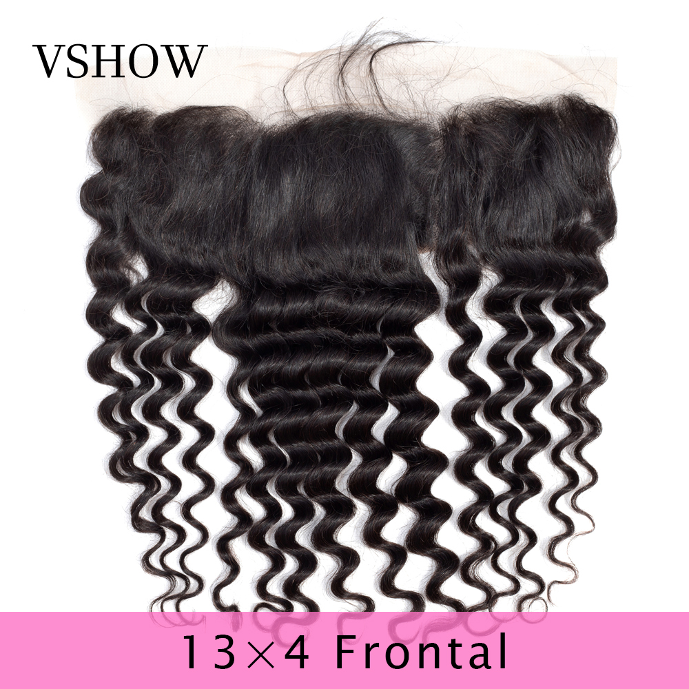 VSHOW Pre Plucked 13x4 Loose Deep Wave Lace Frontal Free Part Brazilian Frontal With Baby Hair 130% Density Remy Human Hair