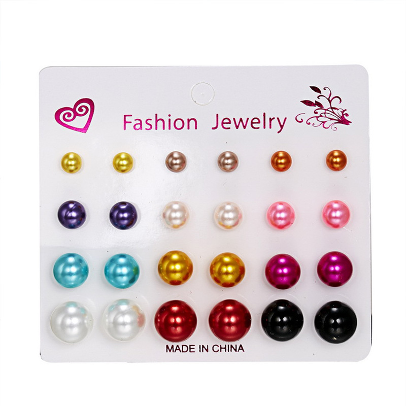 12 pairs multicolor Simulated Pearl Earrings Set For Women Jewelry On Ear Ball Round resin Stud Earrings kit Bijouteria brincos in Stud Earrings from Jewelry Accessories