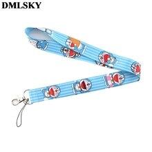 DMLSKY Doraemon Cute Cartoon Lanyard Keychain for keys Badge ID Mobile Phone Key rings Women Neck Straps Accessories M3655
