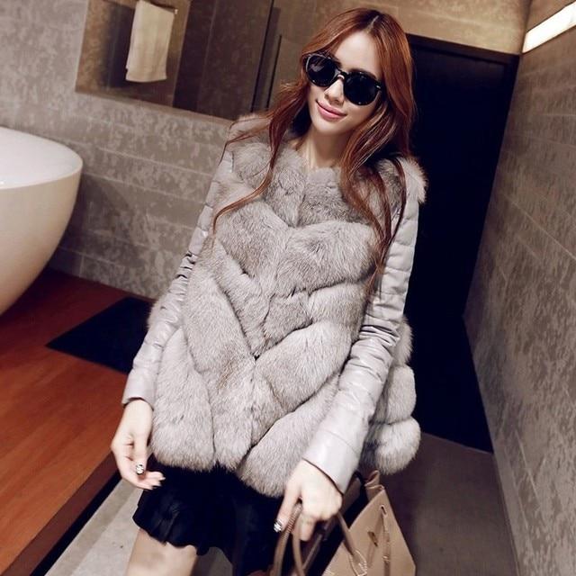 8995c4b34715 Women Winter Faux Fur Coat Vest 2018 New V Neck Warm Casual Sleeveless Faux  Fox Fur Vest Winter Jacket Women casaco feminino