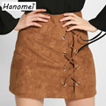 New Lace Up Suede Skirt Cross High Waist Women Skirts 2017 Solid Bodycon Mini Jupe Femme Zipper Leather Short Pencil Skirt C15
