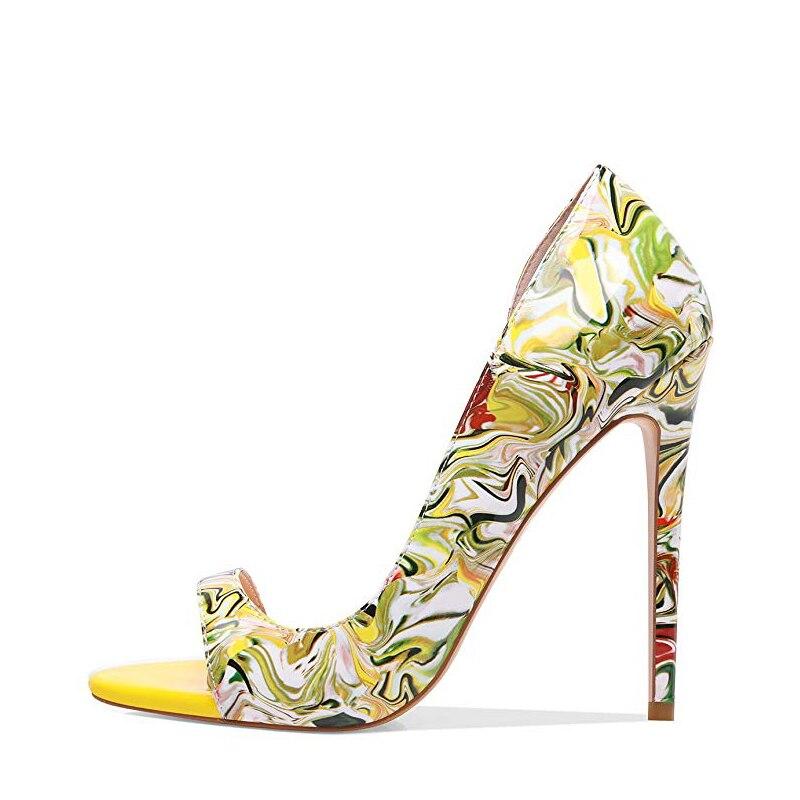 Original Absicht Neue Stilvolle Frauen Sandalen Dünne High Heels Schuhe Frau Mischfarben Offene spitze Alias Mujer Gelb Große Größe-in Hohe Absätze aus Schuhe bei  Gruppe 2