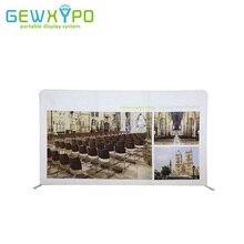 Pantalla de pared recta de 400*228cm de tela de tensión, soporte portátil de tubo de aluminio con impresión de Banner publicitario personalizado