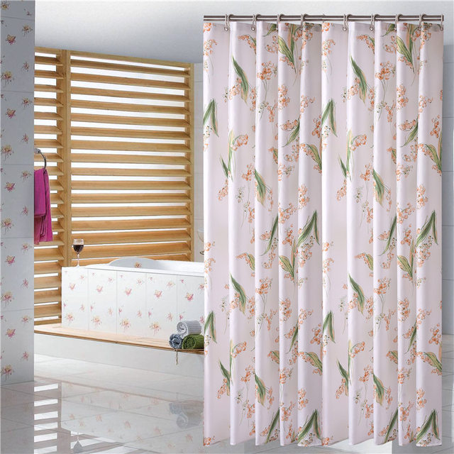 European Shower Curtain Pattern Flower Print Bath Screens Polyester Waterproof YouTube Curtains In The Bathroom