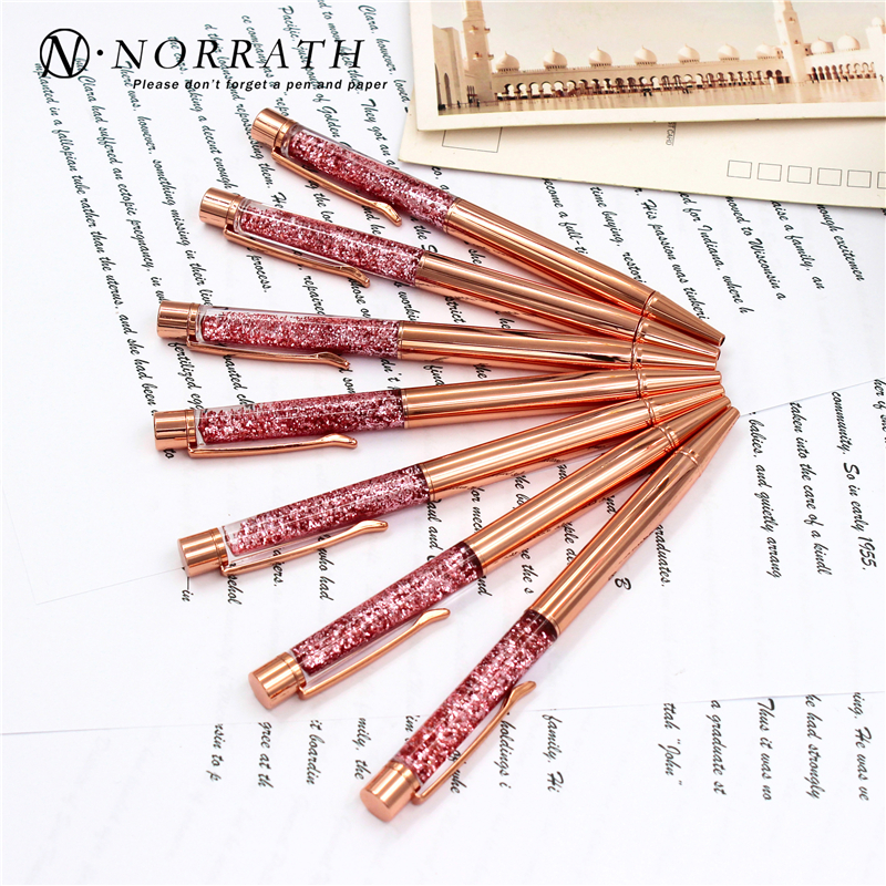 NORRATH Stationery Rose Gold Metal Ballpoint Pen Luxury School Supplies Office Accessories Oily Refill 1.0