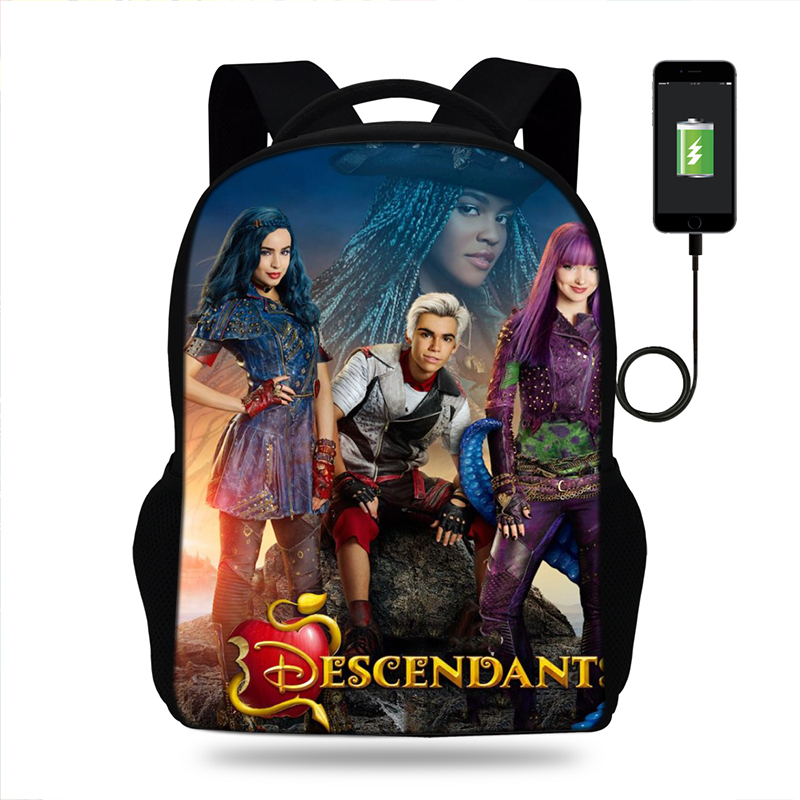 Descendants Women Backpack Schoolbag Girls Student Travel Laptop School Bag USb Charge Backpack Female Mochila Bagpack For Teen Descendants Women Backpack Schoolbag Girls Student Travel Laptop School Bag USb Charge Backpack Female Mochila Bagpack For Teen